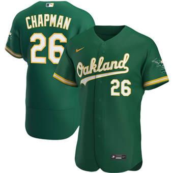 Men's Oakland Athletics #26 Matt Chapman Kelly Green Alternate 2020 Authentic Player Baseball Jersey