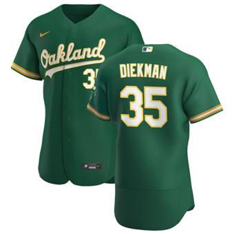 Men's Oakland Athletics #35 Jake Diekman Kelly Green Alternate 2020 Authentic Player Baseball Jersey