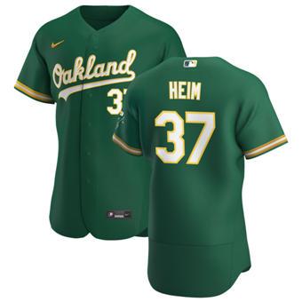 Men's Oakland Athletics #37 Jonah Heim Kelly Green Alternate 2020 Authentic Player Baseball Jersey