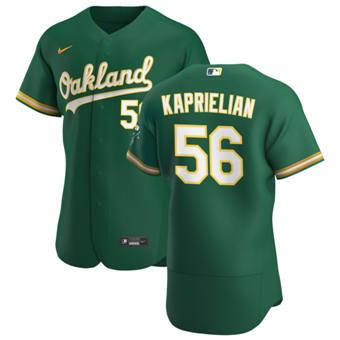 Men's Oakland Athletics #56 James Kaprielian Kelly Green Alternate 2020 Authentic Player Baseball Jersey