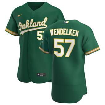 Men's Oakland Athletics #57 J.B. Wendelken Kelly Green Alternate 2020 Authentic Player Baseball Jersey