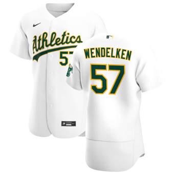 Men's Oakland Athletics #57 J.B. Wendelken White Home 2020 Authentic Player Baseball Jersey
