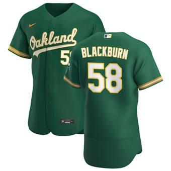 Men's Oakland Athletics #58 Paul Blackburn Kelly Green Alternate 2020 Authentic Player Baseball Jersey