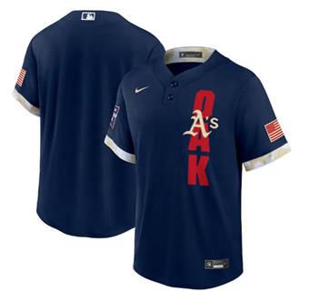 Men's Oakland Athletics Blank 2021 Navy All-Star Cool Base Stitched Baseball Jersey
