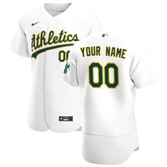 Men's Oakland Athletics Custom White Home 2020 Authentic Player Baseball Jersey