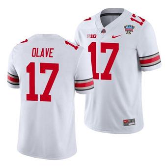 Men's Ohio State Buckeyes Chris Olave 2021 Sugar Bowl White Football Jersey