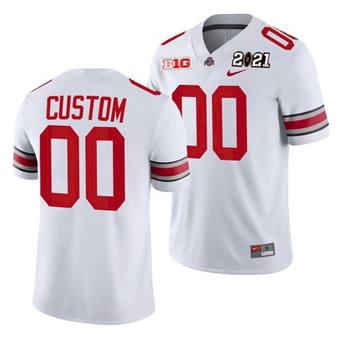 Men's Ohio State Buckeyes Custom 2021 Sugar Bowl Jersey White Playoff Away