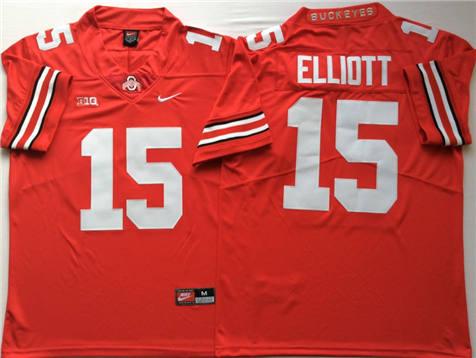 Men's Ohio State Buckeyes Red #15 ELLIOTT Stitched College Football Jersey