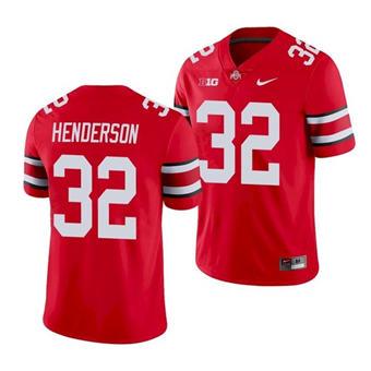 Men's Ohio State Buckeyes TreVeyon Henderson 32 Scarlet Game Jersey