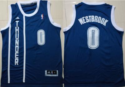 Men's Oklahoma City Thunder #0 Russell Westbrook Navy Swingman Jersey