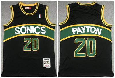 Men's Oklahoma City Thunder #20 Gary Payton Black 1994-95 Throwback SuperSonics Stitched Basketball Jersey