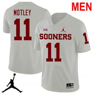 Men's Oklahoma Sooners #11 Parnell Motley White 2019 NCAA Football Jersey