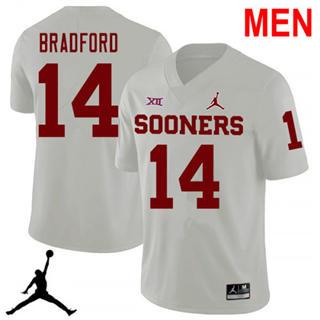 Men's Oklahoma Sooners #14 Sam Bradford White NCAA Football Jersey