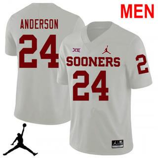 Men's Oklahoma Sooners #24 Rodney Anderson White NCAA Football Jersey