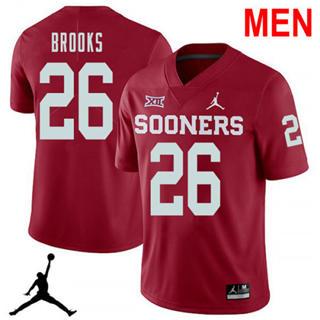 Men's Oklahoma Sooners #26 Kennedy Brooks Red NCAA Football Jersey