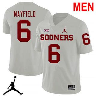 Men's Oklahoma Sooners #6 Baker Mayfield White 2019 NCAA Football Jersey