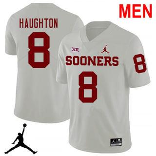 Men's Oklahoma Sooners #8 Kahlil Haughton White NCAA Football Jersey