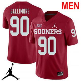 Men's Oklahoma Sooners #90 Neville Gallimore Red NCAA Football Jersey