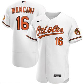 Men's Orioles #16 Trey Mancini White Baseball 2020 Flexbase Jersey