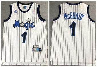 Men's Orlando Magic #1 Tracy McGrady White Throwback Stitched Basketball Jersey