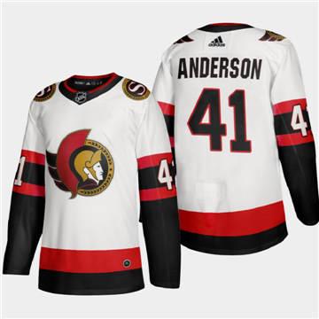Men's Ottawa Senators #41 Craig Anderson 2020-21 Authentic Player Away Stitched Hockey Jersey White