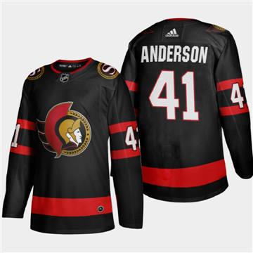 Men's Ottawa Senators #41 Craig Anderson 2020-21 Authentic Player Home Stitched Hockey Jersey Black