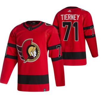 Men's Ottawa Senators #71 Chris Tierney Red 2020-21 Reverse Retro Alternate Hockey Jersey