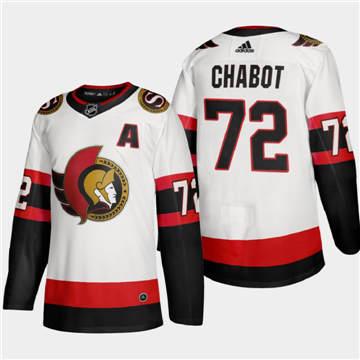 Men's Ottawa Senators #72 Thomas Chabot 2020-21 Authentic Player Away Stitched Hockey Jersey White