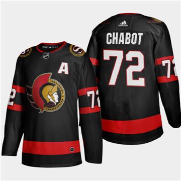Men's Ottawa Senators #72 Thomas Chabot 2020-21 Authentic Player Home Stitched Hockey Jersey Black
