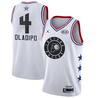 Men's Pacers #4 Victor Oladipo White Basketball Jordan Swingman 2019 All-Star Game Jersey