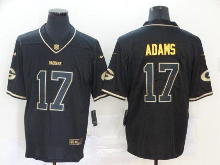 Men's Packers #17 Davante Adams Black Golden Edition Vapor Limited Football Jersey