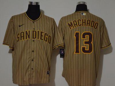 Men's Padres #13 Manny Machado Brown Strip 2020 Baseball Jersey