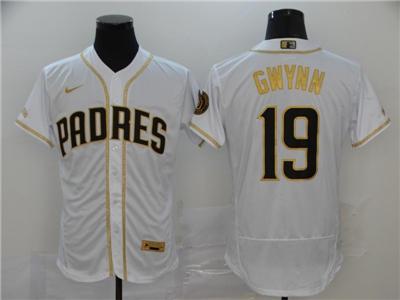 Men's Padres #19 Tony Gwynn White Gold 2020 Baseball FlexBase Jersey