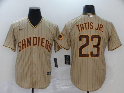 Men's Padres #23 Fernando Tatis Jr. Brown Strip 2020 Baseball Cool Base Jersey
