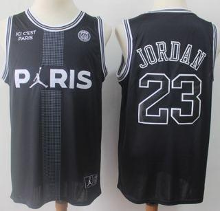 Men's Paris Saint-Germain X Jordan #23 Michael Jordan Black Ici C'est Paris Stitched Basketball Jersey