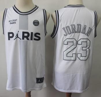 Men's Paris Saint-Germain X Jordan #23 Michael Jordan White Ici C'est Paris Stitched Basketball Jersey