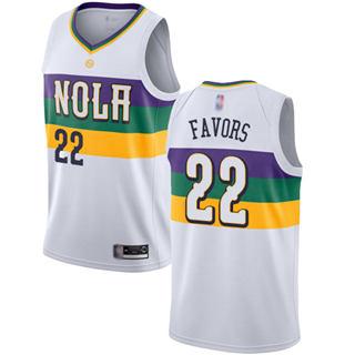 Men's Pelicans #22 Derrick Favors White Basketball Swingman City Edition 2018-19 Jersey