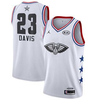 Men's Pelicans #23 Anthony Davis White Basketball Jordan Swingman 2019 All-Star Game Jersey