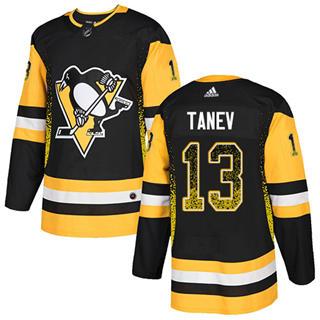 Men's Penguins #13 Brandon Tanev Black Home Authentic Drift Fashion Stitched Hockey Jersey