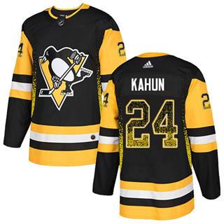 Men's Penguins #24 Dominik Kahun Black Home Authentic Drift Fashion Stitched Hockey Jersey