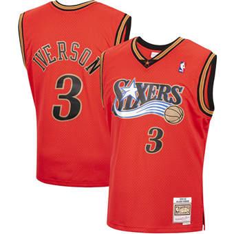 Men's Philadelphia 76ers #3 Allen Iverson Orange 1999-00 Throwback Stitched Basketball Jersey