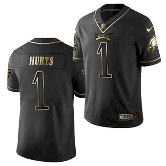 Men's Philadelphia Eagles #1 Jalen Hurts Black Golden Edition Stitched Football Jersey