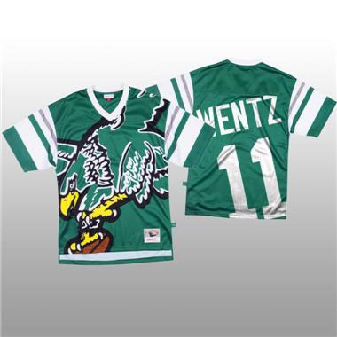 Men's Philadelphia Eagles #11 Carson Wentz Green Mitchell & Nell Big Face Fashion Limited Football Jersey