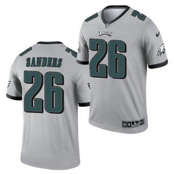 Men's Philadelphia Eagles #26 Miles Sanders Silver 2021 Inverted Legend Stitched Jersey