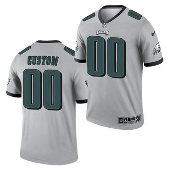 Men's Philadelphia Eagles ACTIVE PLAYER Custom Silver 2021 Inverted Legend Stitched Jersey