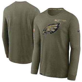 Men's Philadelphia Eagles Football Olive 2021 Salute To Service Performance Long Sleeve T-Shirt
