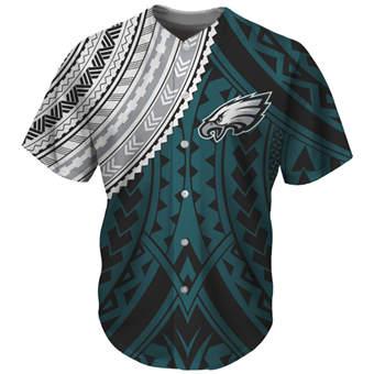 Men's Philadelphia Eagles Green Baseball Jersey