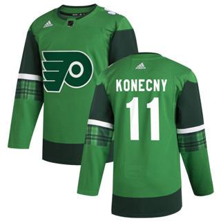 Men's Philadelphia Flyers #11 Travis Konecny 2020 St. Patrick's Day Stitched Hockey Jersey Green