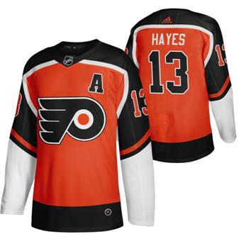 Men's Philadelphia Flyers #13 Kevin Hayes Orange 2020-21 Reverse Retro Alternate Hockey Jersey