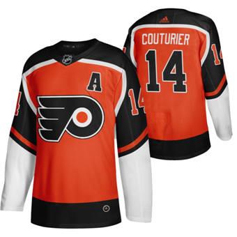 Men's Philadelphia Flyers #14 Sean Couturier Orange 2020-21 Reverse Retro Alternate Hockey Jersey